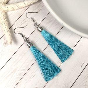 Jewelry - Aqua Tassel Drop Earrings